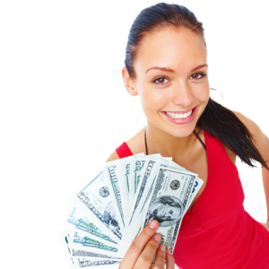 Girl with money. Phoenix Car Title Loans