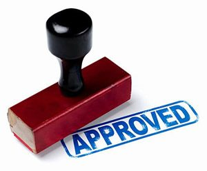 Loan approved stamp. Title Loans Express can help you get a loan!