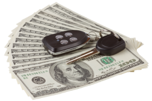 Car keys and money. Arlington Title Loans can help you get a loan!