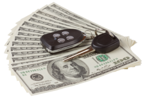 Money and car keys. Title Loans Bakersfield