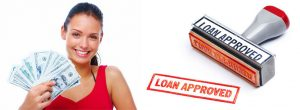 Girl with money and loan approved stamp. Title Loans Buena Park